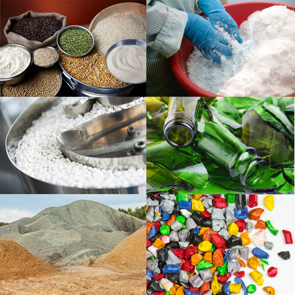 Materials handled by a vibrating feeder
